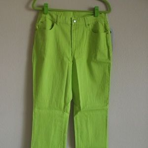 Diane Gilman Boot Cut Neon Lime Green Jeans